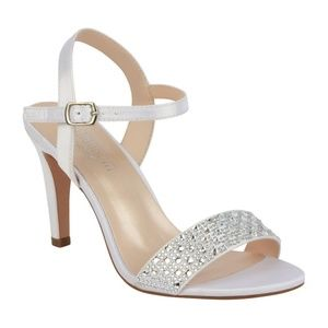 81750e5b9aa0 De Blossom White Satin Rhinestone Bridal Shoe